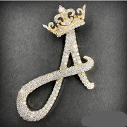 2.5 Inch Long Initial Letter A Wearing Crown Sterling Silver Custom Cz Pendant