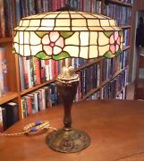 Antique Royal Co Lamp And Lamb Bros And Green Leaded Glass Lamp Shade Chicago Bros.