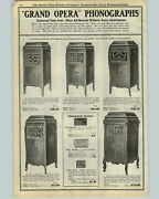1922 Paper Ad Grand Opera Hand Crank Power Phonograph Record Player Console