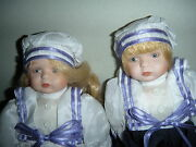 Classic Creations Brandy And Brian Porcelain And Cloth Dolls 7 Nib
