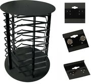 Rotating 5 Sided Earring Hanging Card Display Stand With 100 Black 1.5 Cards