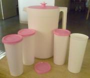 Tupperware 1 Gallon Pitcher Classic + Four 16 Oz Tumblers White And Pink Set New