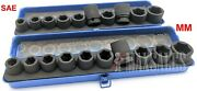 New 20pc 1/2 Drive Air Impact Cr-mo Steel Socket Mm And Sae Set W/ Metal Case