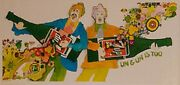Vintage 1969 Psychedelic 7up Uncola Bottle Guitar 12 Panel Billboard 21and039 By 10and039