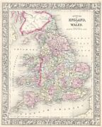 County Map Of England And Wales 1867 By Ward Maps Art Print Vintage Poster 18x22
