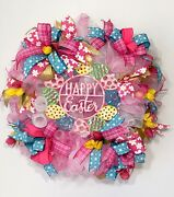 Happy Easter Eggs Sign Pink White Deco Mesh Large Wreath Ribbons Spring Tulips