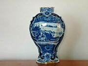 Rare Antique 18th C. Blue And White Hand Made Delft Urn The Lid Missing