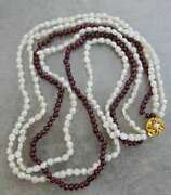 Vintage Multi Strand Garnet And Freshwater Pearl Layered 20 1/2 Long Necklace