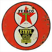 Extra Large Reproduction Red Ethyl Texaco Motor Oil Sign 24 Round