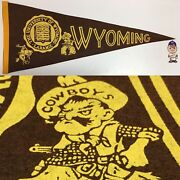 1960and039s Vintage Wyoming Cowboys University Laramie Pennant 11.5x28.75