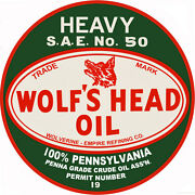 Extra Large Heavy Sae No. 50 Wolfand039s Head Oil And Gas Advertisement Sign