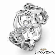 Womens Floral Eternity Ring Round Cut Diamond Wedding Band 18k White Gold 0.9ct