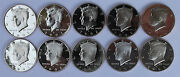 2000 - 2009 S Proof Kennedy Half Coin Collection 10 Coins From Us Proof Sets