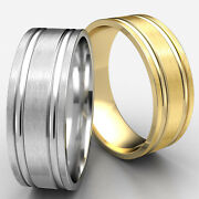Flat Parallel Grooves 14k White Gold Man Menand039s Wedding Band Satin Finished Rings
