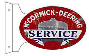 Aged Reproduction Mccormick Deering Service Double Sided Flange Sign