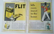 1928 Flit Insecticide Sprayer Vintage Tin Container 2 Page Ad