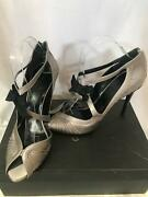 By Tom Ford Era Silver Satin Sandals With Bows Coset Style 8 1/2 8.5 B