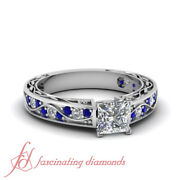 .65 Ct Princess Cut Diamond And Round Blue Sapphire Shank Wave Engagement Ring Gia