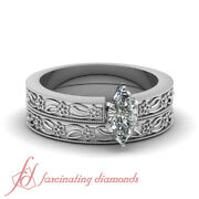 1/2 Ct Marquise Cut Si2 Diamond Solitaire Engagement Rings And Bands For Women