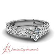 1/2 Carat Heart Shaped Diamond Solitaire Engagement Rings For Women 14k Si1 Gia
