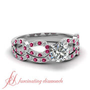 .90 Ct Round Ideal Cut Si2 Diamond And Pink Sapphire Womens Gold Wedding Ring Sets
