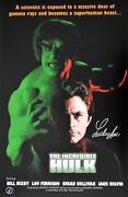 Lou Ferrigno Autographed Incredible Hulk Bill Bixby 11x17 Movie Poster Asi Proof