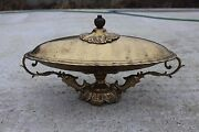 Antique Ornate Serve Fish Seafood Tray Dish Art Brass Plate Platter Course 158
