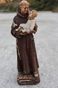 Large Vintage St Anthony Of Padua With Jesus Plaster Statuette Chalkware 324
