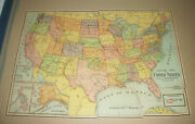 Complete Milton Bradley Pre 1907 United States Map Puzzle W/ Box Top 2 Sided Gem
