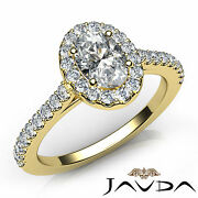 Side-stone French Pave Setting Halo Oval Diamond Engagement Ring Gia D Vvs1 1ct