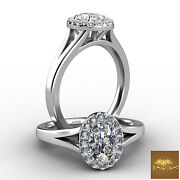 Halo Split Shank French U Pave Oval Cut Diamond Engagement Ring Gia D Vs2 0.7ct