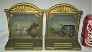 Antique Bradley Hubbard Cast Iron Equestrian Carriage Buggy Art Paint Bookends