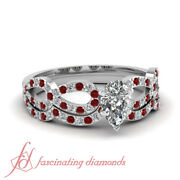 1 Tcw. Pear Shaped G-color Diamond And Round Red Ruby Bridal Rings Set 14k Si2 Gia