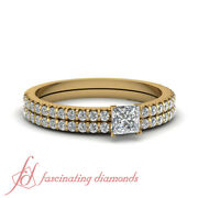 Princess Cut French Prong Cheap Yellow Gold Engagement Rings And Bands 0.90 Ct