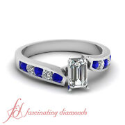 .1 Ct Emerald Cut Flawless Diamond And Round Blue Sapphire Engagement Ring 14k