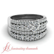 1.60 Ct Wedding Sets For Her With Heart Shaped And Round Diamond Three Row Gia