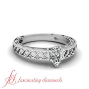 .50 Ct Pear Shaped Si2-h Diamond Cross Wave Solitaire Engagement Ring 14k Gold