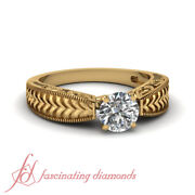 1/2 Carat Vintage Engraved Solitaire Engagement Ring With Round Cut Diamond Gia