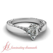 1/2 Carat Pear Diamond Vintage Style Solitaire Platinum Engagement Rings For Her