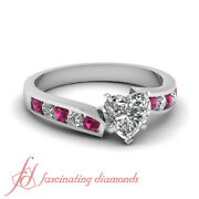 .75 Ct Heart Shaped Diamond And Round Pink Sapphire Twine Edged Engagement Ring