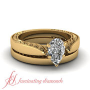 1/2 Carat Solitaire Pear Diamond Vintage Engagement Rings And Bands For Women