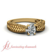 Vintage Looking Yellow Gold Solitaire Diamond Rings With 0.90 Ct Cushion Cut Gia