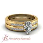 .90 Ct Yellow Gold Pear Shaped Diamond Wedding Rings Channel Set Gia Certified