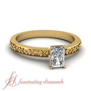 .60 Ct Radiant Cut Solitaire Victorian Yellow Gold Diamond Rings For Women Gia