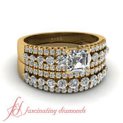 1.80 Ct Wedding Sets For Her With Asscher Cut And Round Diamond Three Row Gia