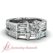 2.70 Carat Antique Inspired Wedding Rings Pave Set With Pear Shaped Diamond Gia