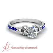 .65 Ct Round Cut Diamond And Sapphire Engagement Rings For Women Gia Certified