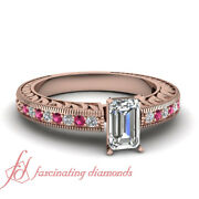 3/4 Carat Emerald Cut Diamond And Pink Sapphire Simple Vintage Engagement Ring Gia