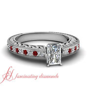 Vintage Style Womens Diamond Engagement Rings With 3/4 Ct Radiant Cut And Ruby