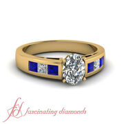 1.20 Ct Oval Shaped Preset Diamond Channel Engagement Rings With Blue Sapphire
